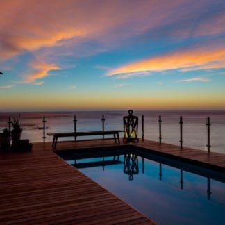 sunset on pool deck